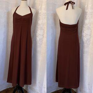 J. CREW Brown Seersucker Halter stretch dress 10
